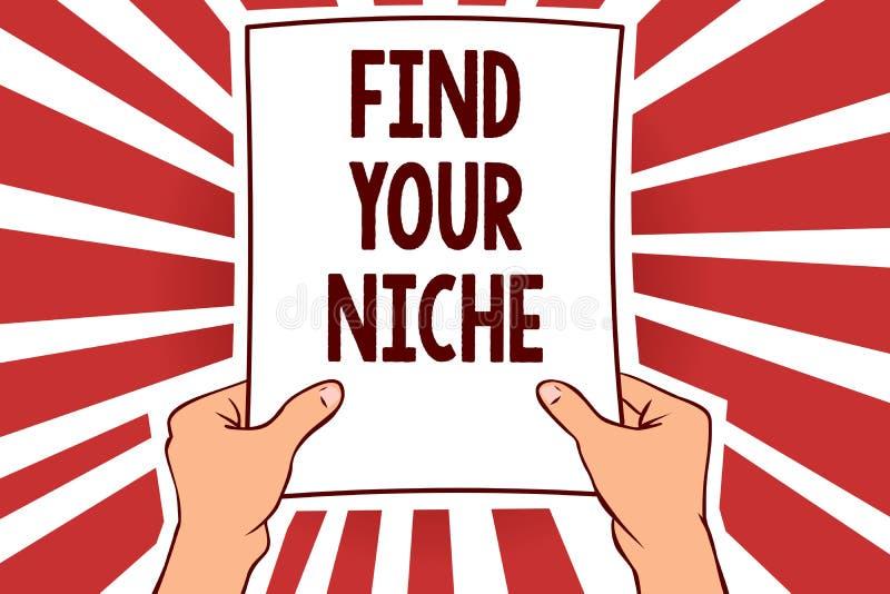手写文本文字发现您的适当位置 概念意思寻找具体潜在客户的市场调查销售举行pa的人 库存例证