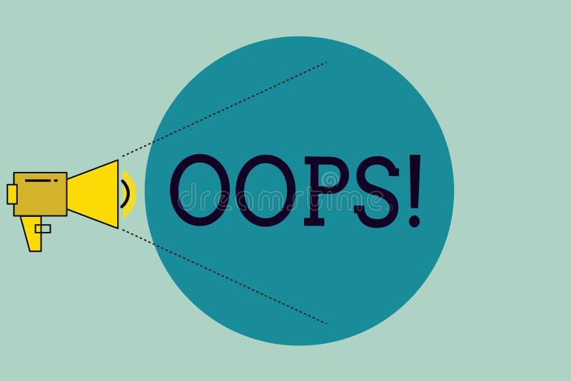 手写文本文字哟 概念意思用于显示差错或较小事故道歉的公认 向量例证
