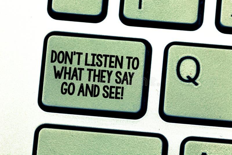 手写文本文字唐T听什么他们说去并且看见 概念意思证实单独检查键盘 免版税库存图片