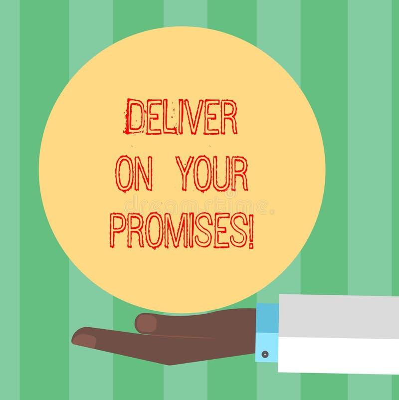 手写文本文字实现您的承诺 概念意思做什么您许诺了承诺发行胡 库存例证