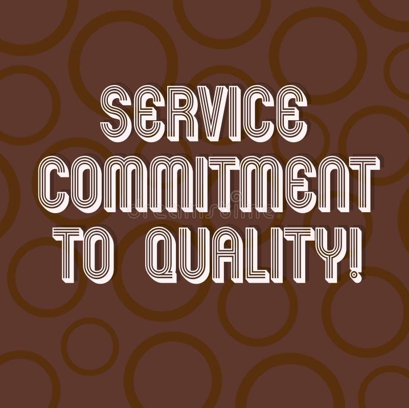 手写文本文字对质量的服务承诺 概念意思优秀优质好协助圈子 皇族释放例证
