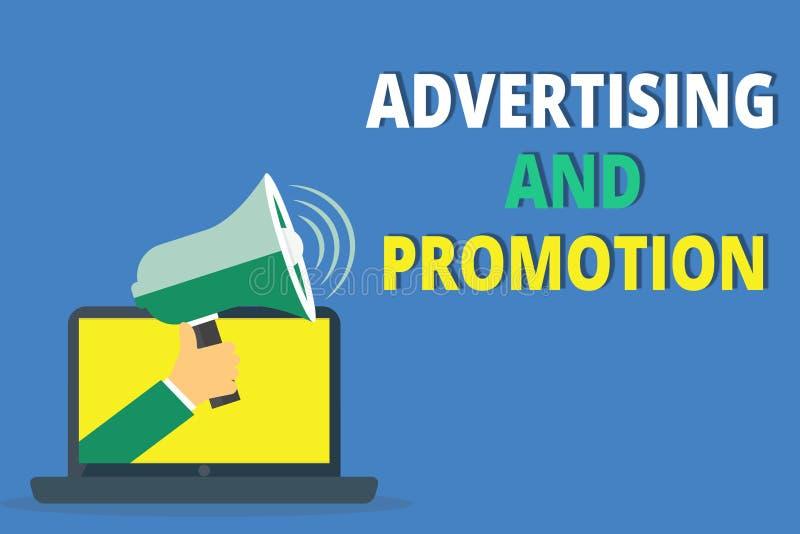 手写文本文字广告和促进 意味在媒介的概念受控制和被支付的销售的活动 库存例证