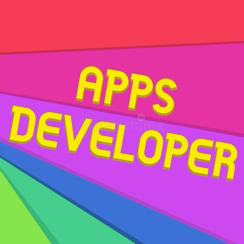 手写文本文字应用程序开发商 意味形象艺术家软件程序员和分析家专家的概念 皇族释放例证