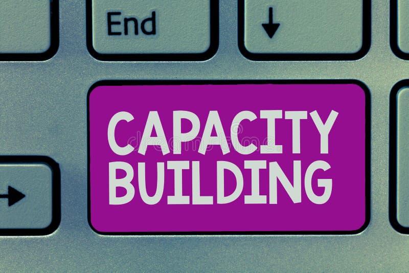 手写文本文字建筑物容纳力 概念意思加强个体劳工计划的能力 库存图片