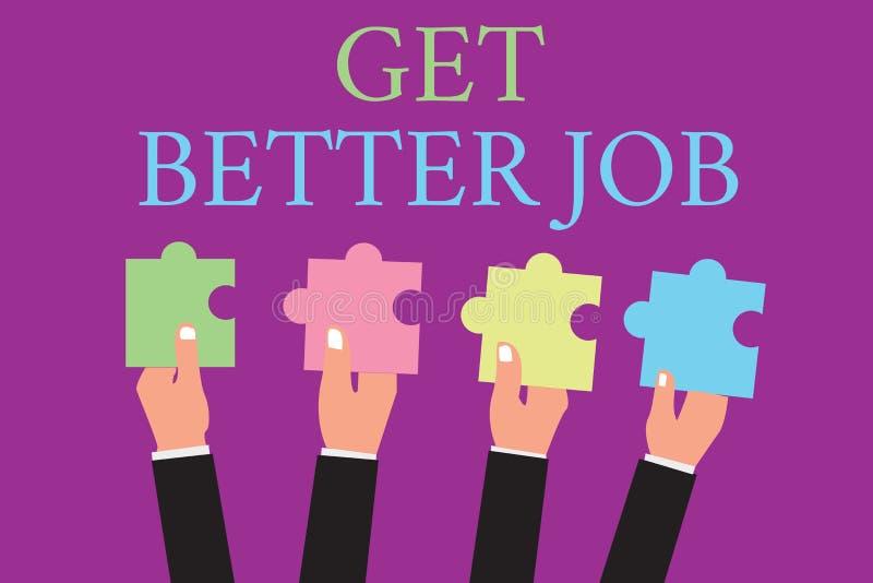 手写文本文字得到更好的工作 寻找高收入职业重音的概念意思任意运作 库存例证
