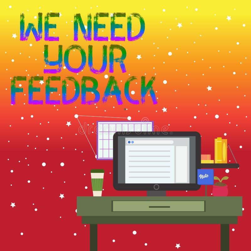 手写文本文字我们需要您的反馈 意味批评的概念指定说可以是做的改善照片  库存例证