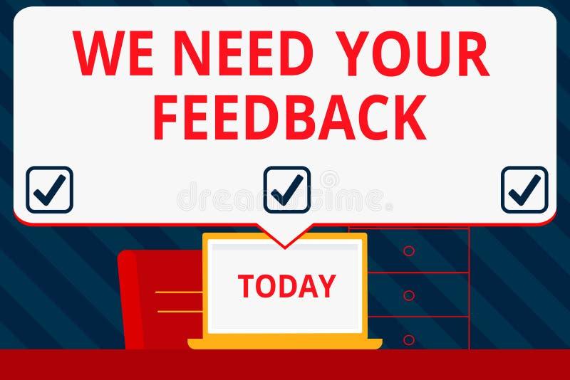 手写文本文字我们需要您的反馈 意味批评的概念指定说可以是完成的改善空白 皇族释放例证