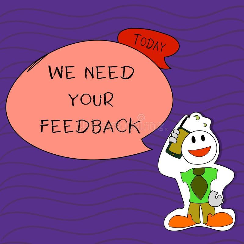 手写文本文字我们需要您的反馈 意味批评的概念指定说可以是完成的改善面带笑容 皇族释放例证