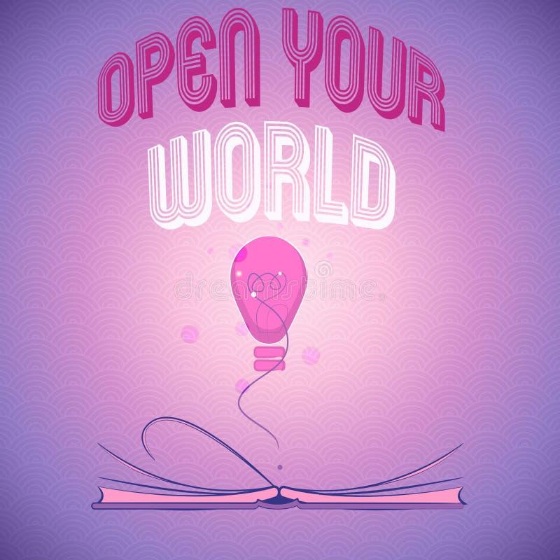手写文本文字打开您的世界 概念意思扩展您的头脑和思路从所有否定性 向量例证