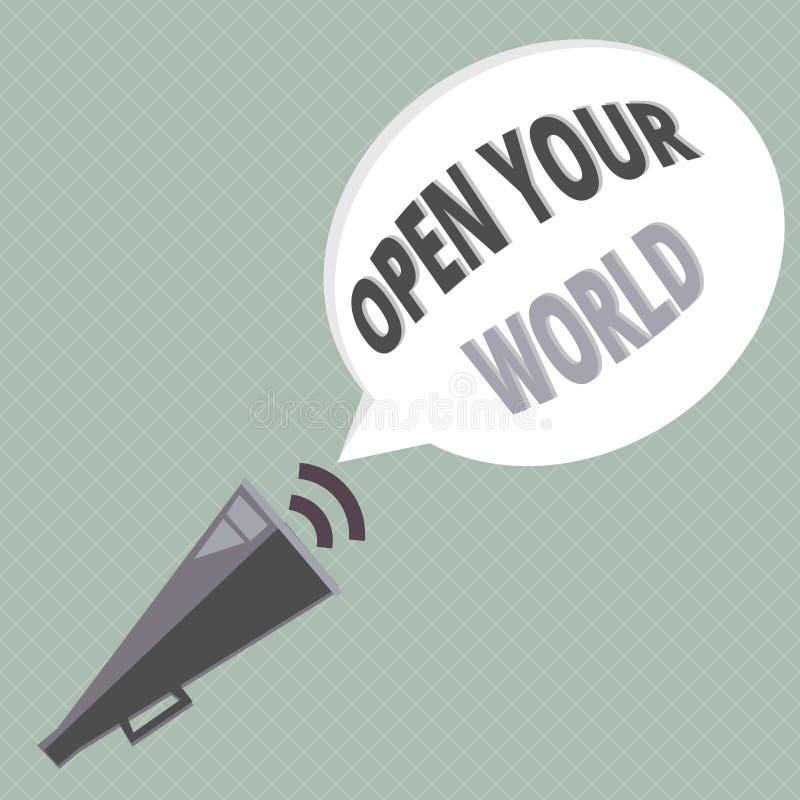 手写文本文字打开您的世界 概念意思扩展您的头脑和思路从所有否定性 库存例证