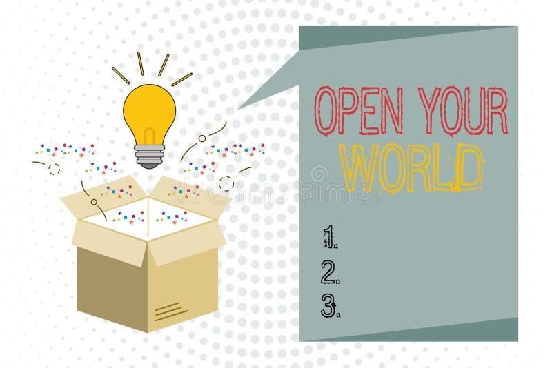 手写文本文字打开您的世界 概念意思扩展您的头脑和思路从所有否定性 皇族释放例证