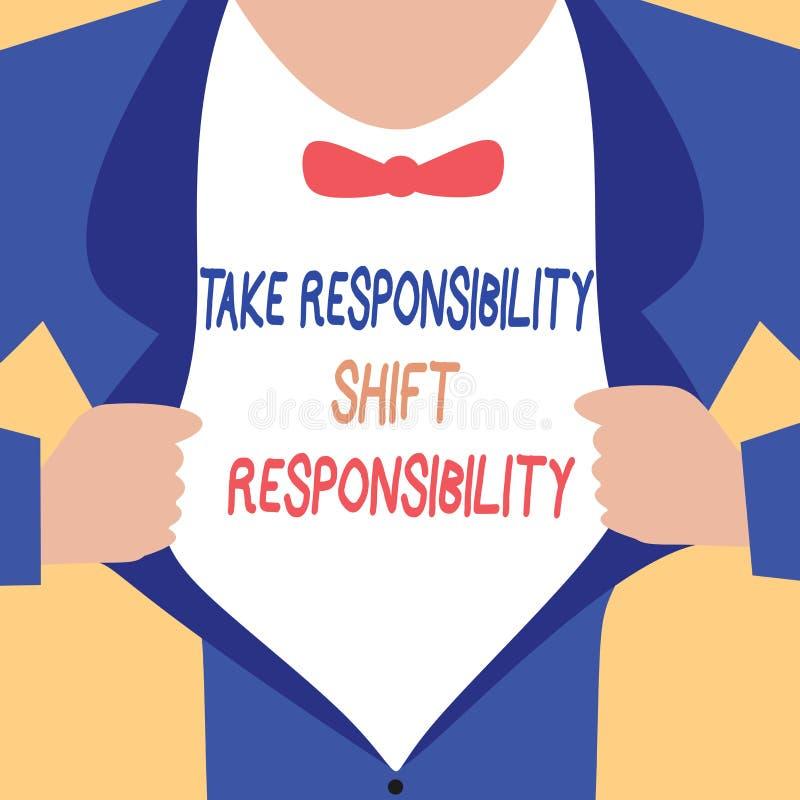 手写文本文字承担责任转移责任 概念意思成熟采取义务 库存例证