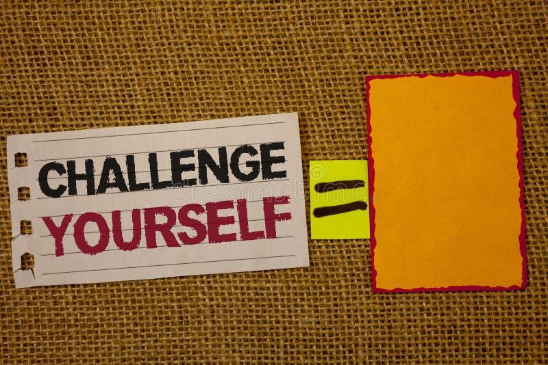 手写文本文字挑战  概念意思克服信心强的鼓励改善胆敢黄麻大袋d 免版税库存照片