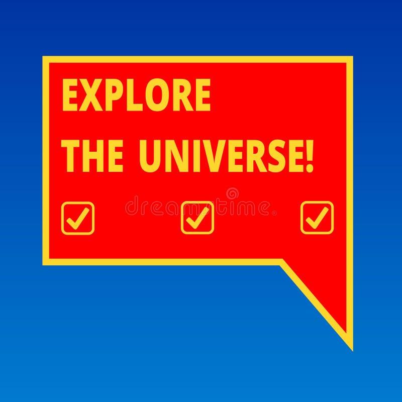 手写文本文字探索宇宙 概念意思发现空间和时间和他们的内容删去 向量例证