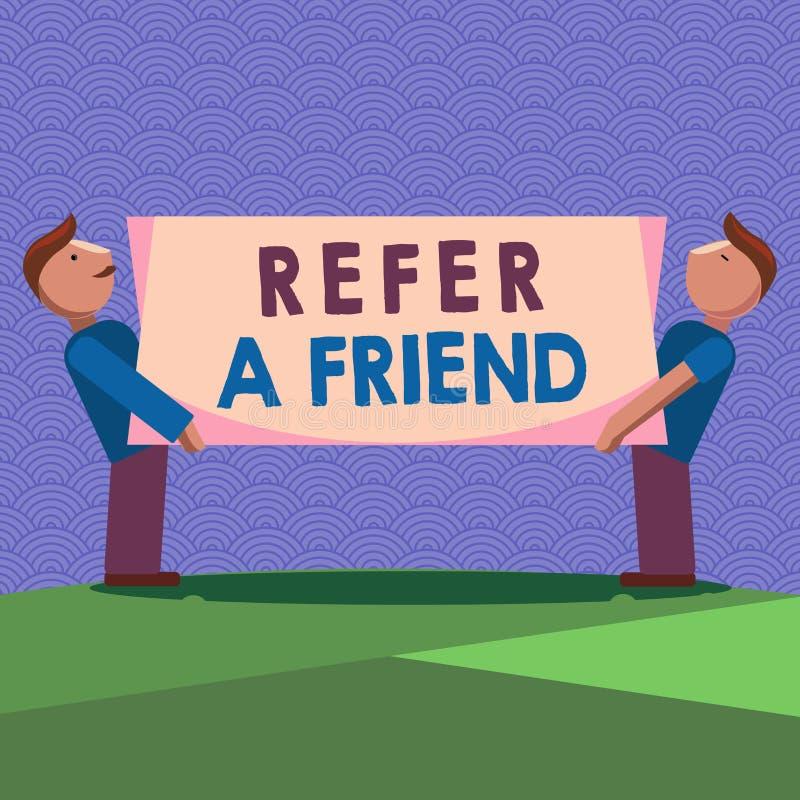 手写文本文字提到一个朋友 概念意思推荐任命在任务合格的某人 向量例证