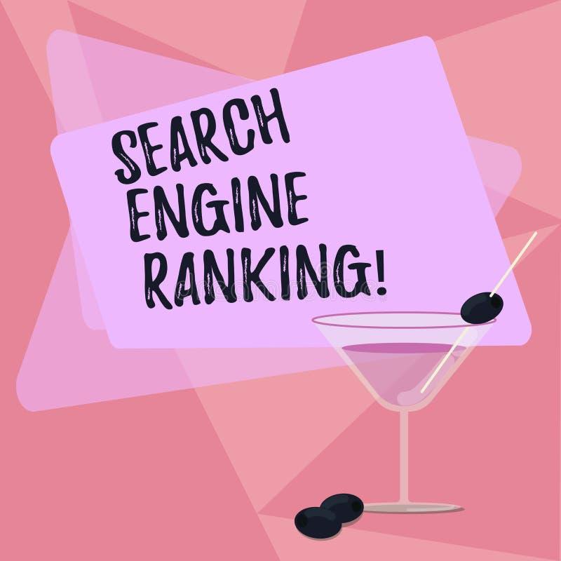 手写文本文字搜索引擎等级 概念站点出现于搜索引擎询问的意思等级 库存例证