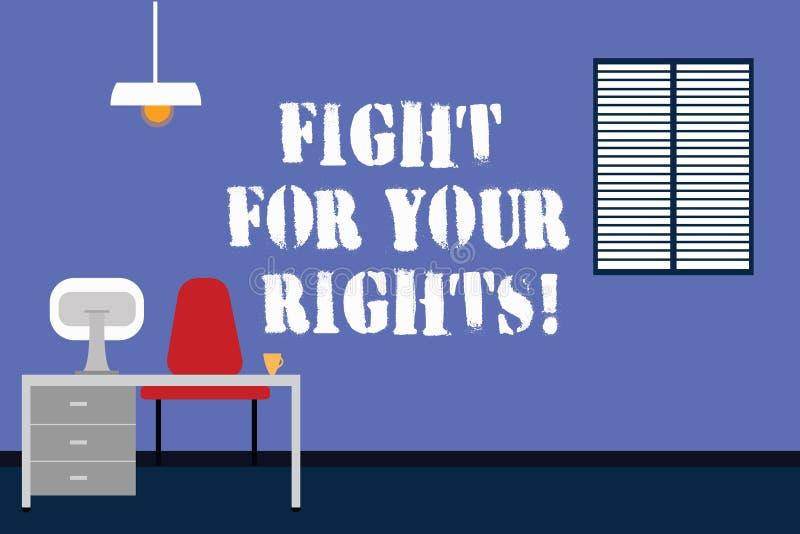 手写文本文字斗争为您的权利 概念意思做战斗为自由和平等的正义平衡 库存例证