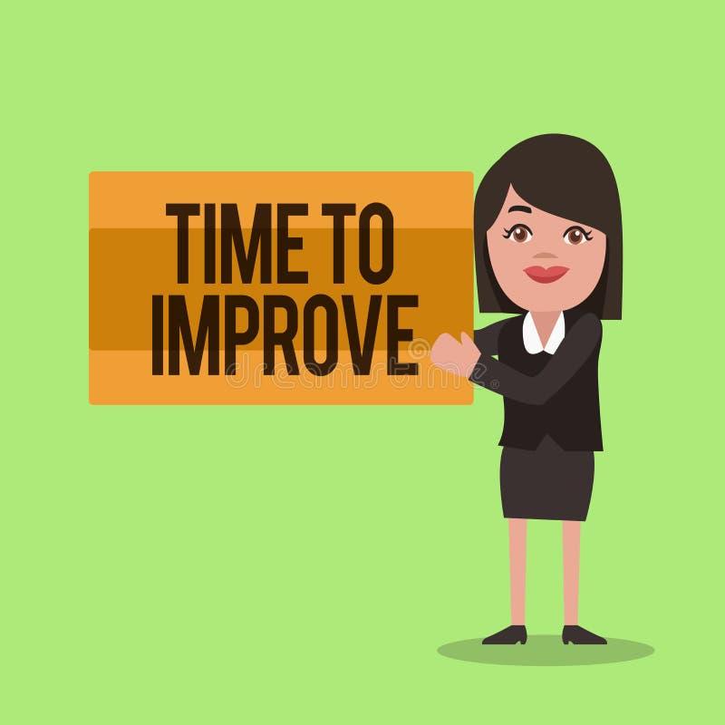 手写文本文字时间改善 告诉概念的意思某人开发自己研究坚硬路线 库存例证