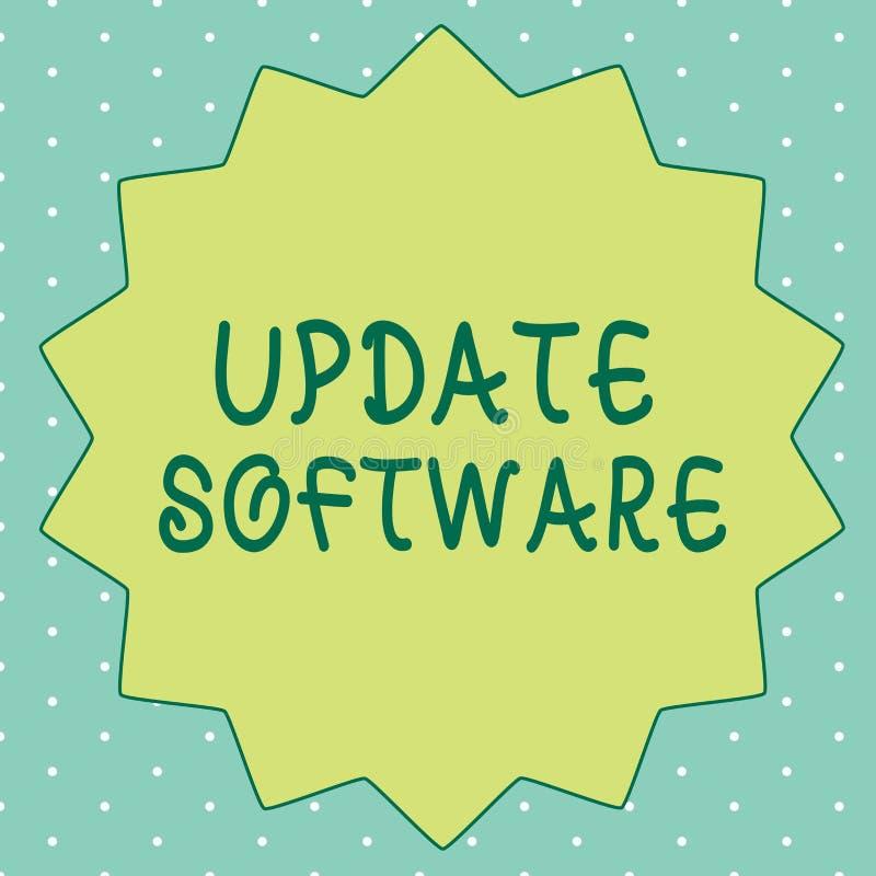 手写文本文字更新软件 替换节目的概念意思用同样产品的一个新版本 库存例证