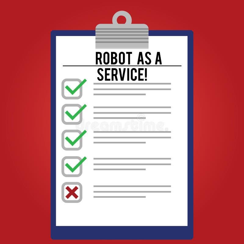 手写文本文字机器人作为服务 概念意思人工智能数字协助闲谈马胃蝇蛆排行了 库存例证