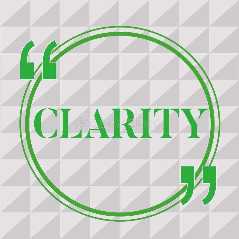 手写文本文字清晰 是概念的意思连贯可理解可理解的清楚的想法精确度 库存例证