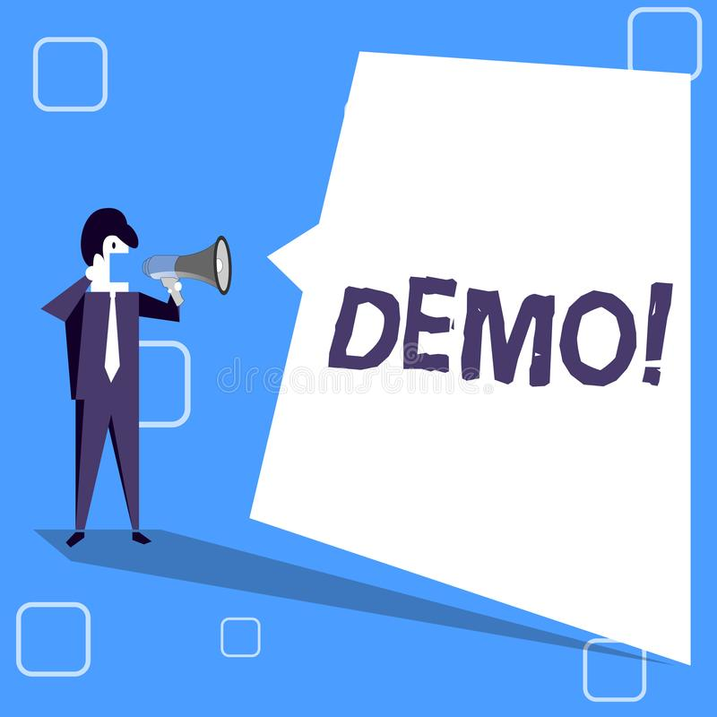 手写文本文字演示 概念意思试验Beta版免费考试某事的样品预览原型 库存例证