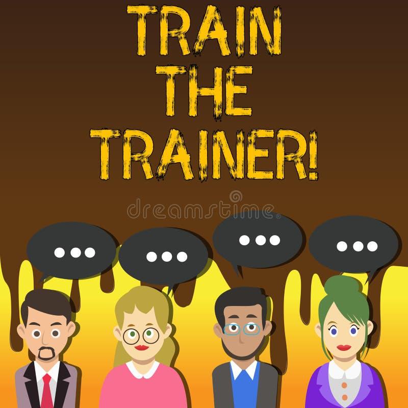 手写文本文字火车教练员 意味学习技术学生的概念是老师小组 库存例证