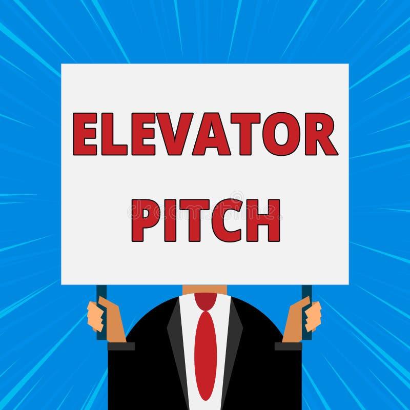 手写文本文字电梯沥青 概念意味令人信服的销售摊点简要的讲话关于产品 皇族释放例证