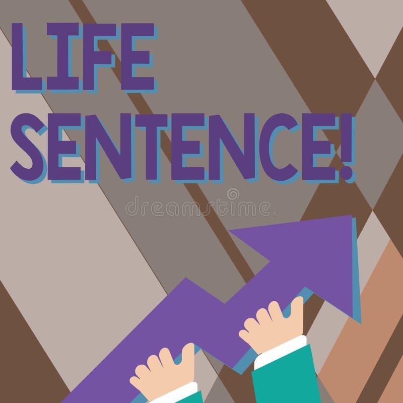 手写文本文字终身监禁 意味被投入的处罚的概念在一张非常很长时间照片的监狱 库存例证