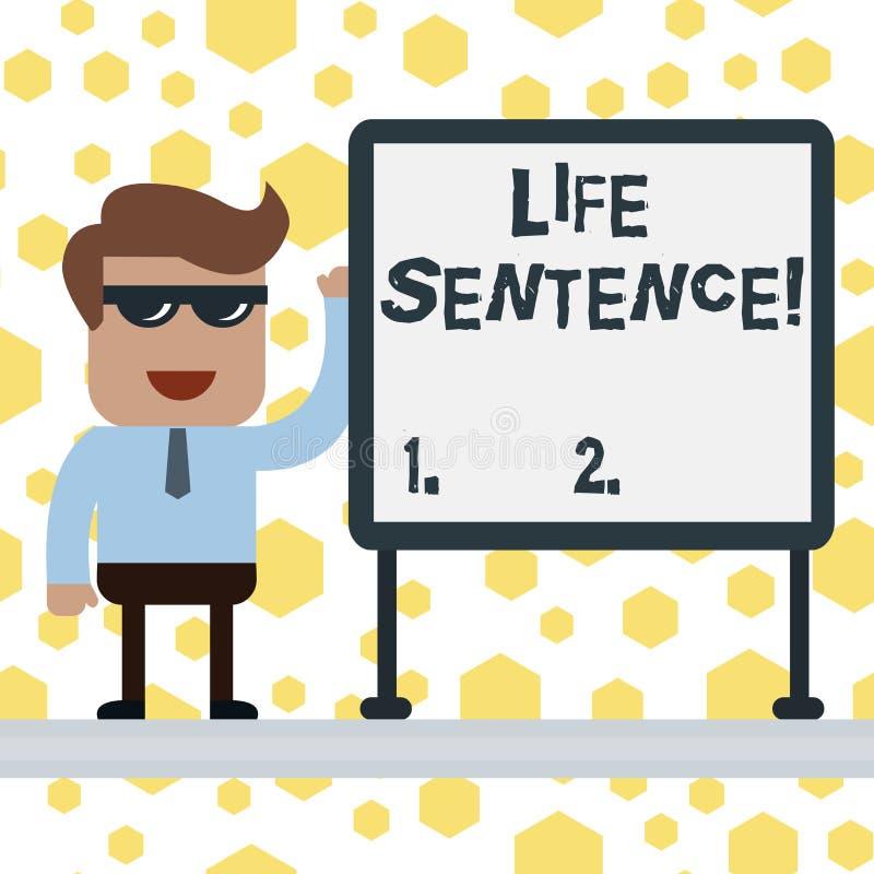 手写文本文字终身监禁 意味被投入的处罚的概念在监狱非常很长时间 库存例证