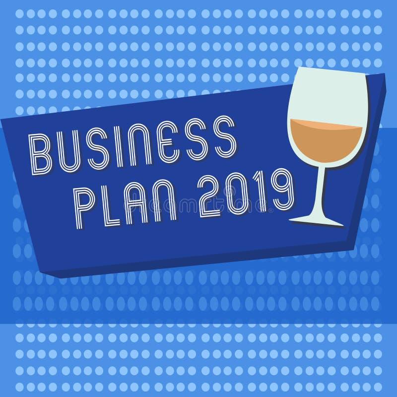 手写文本文字经营计划2019年 意味富挑战性企业想法和目标的概念新年 库存例证