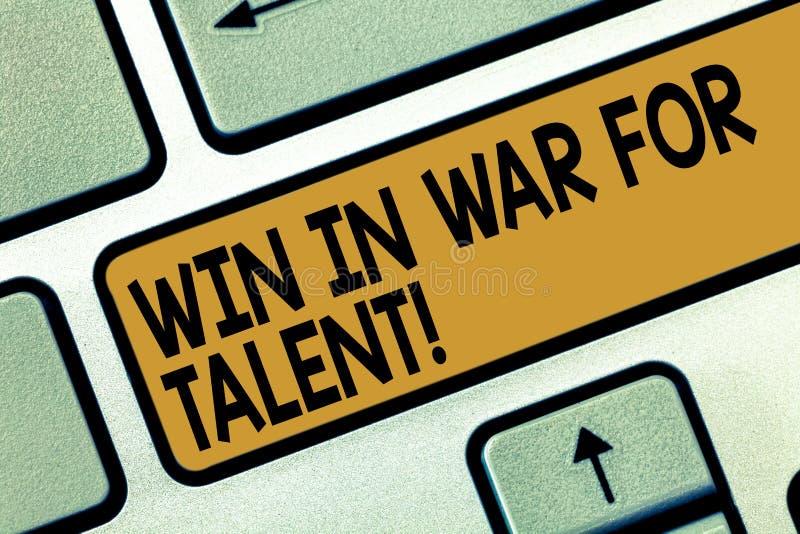 手写文本文字胜利在天分的战争中 概念使用您的最佳的技能的意思战斗是能力的一个优胜者 皇族释放例证