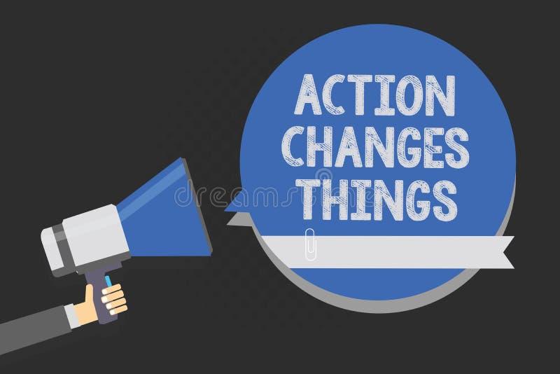 手写文本文字行动改变事 做某事的概念意思将反射其他事反应多行的文本 库存例证