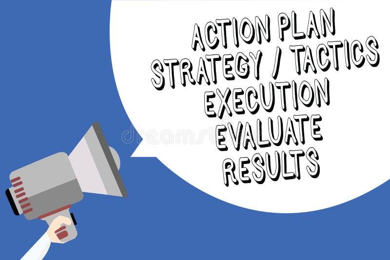 手写文本文字行动纲领战略战术施行评估结果 概念意思管理反馈人藏品 向量例证