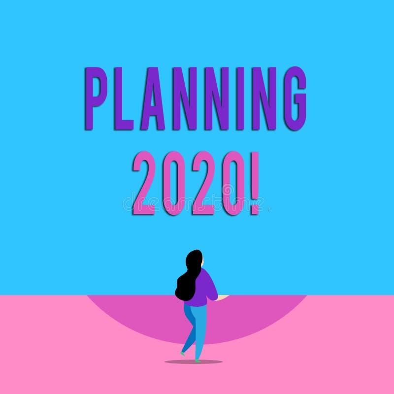 手写文本文字计划2020年 概念明年使某事的计划的意思过程长 皇族释放例证