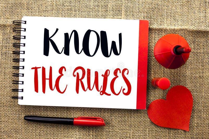 手写文本文字认识规则 概念意思知道在笔记本写的法律章程协议做法 图库摄影