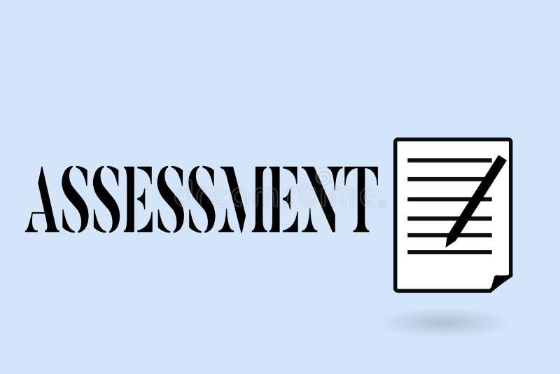 手写文本文字评估 判断某事的决定的数额价值质量重要性概念意思 皇族释放例证