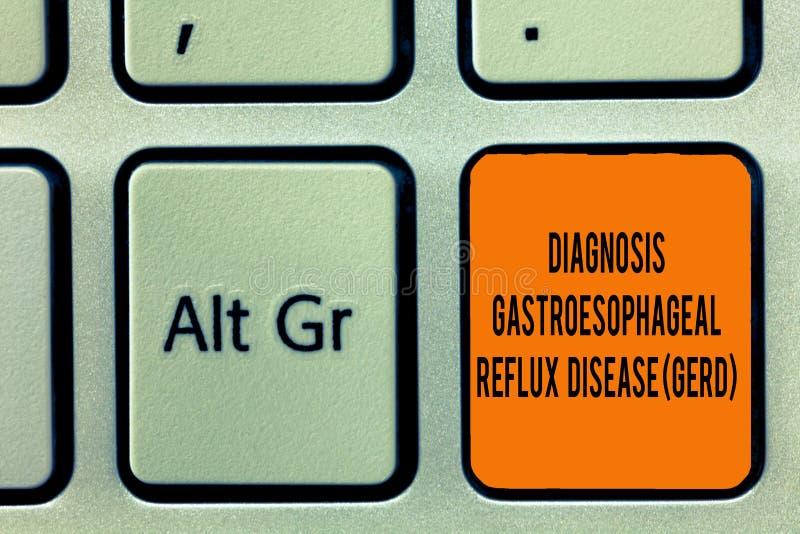 手写文本文字诊断胃食管逆流疾病格尔德 意味消化混乱的概念 库存图片