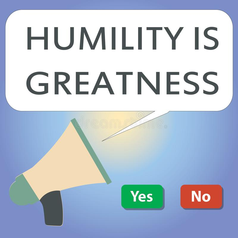 手写文本文字谦卑是伟大 是概念的意思谦逊的是过度感觉优胜者的美德 库存例证