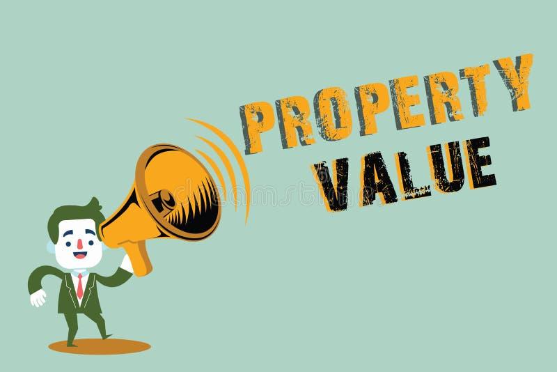 手写文本文字财产价值 概念土地房地产鉴定人公平的市场价的意思价值 向量例证