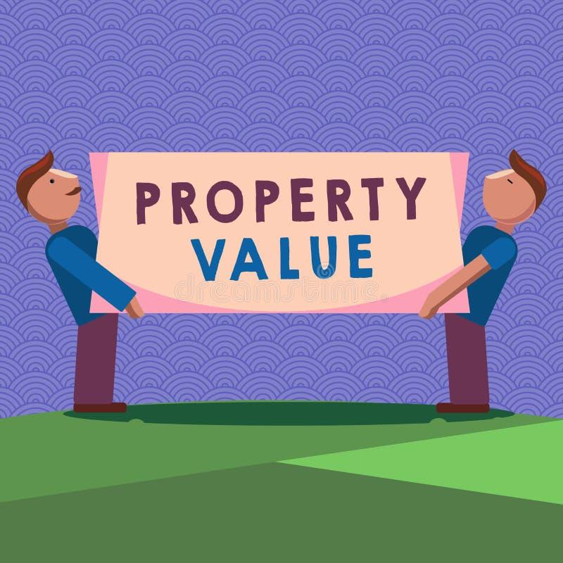 手写文本文字财产价值 概念土地房地产鉴定人公平的市场价的意思价值 库存例证