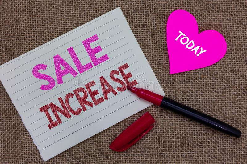 手写文本文字销售增量 概念平均数中销售量增长促进从主角片断笔记本pape的收入 免版税图库摄影