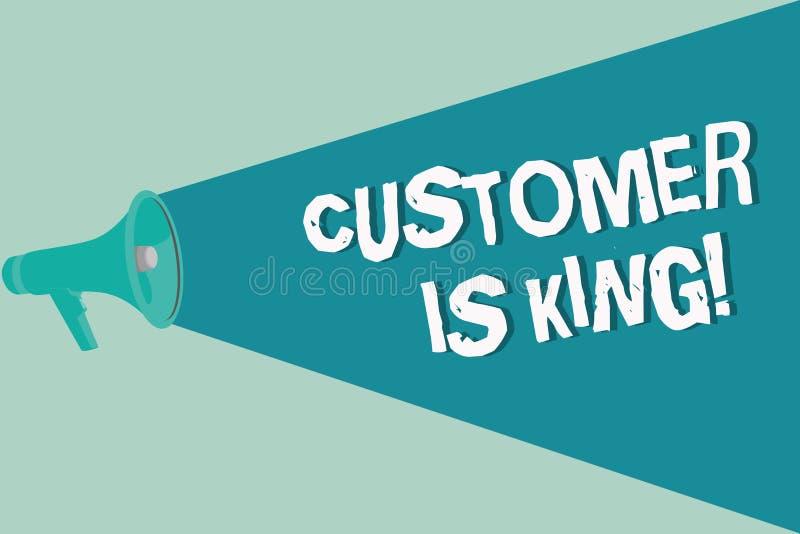 手写文本文字顾客是国王 概念殷勤意思服务和迫切地适当地提供需要 向量例证