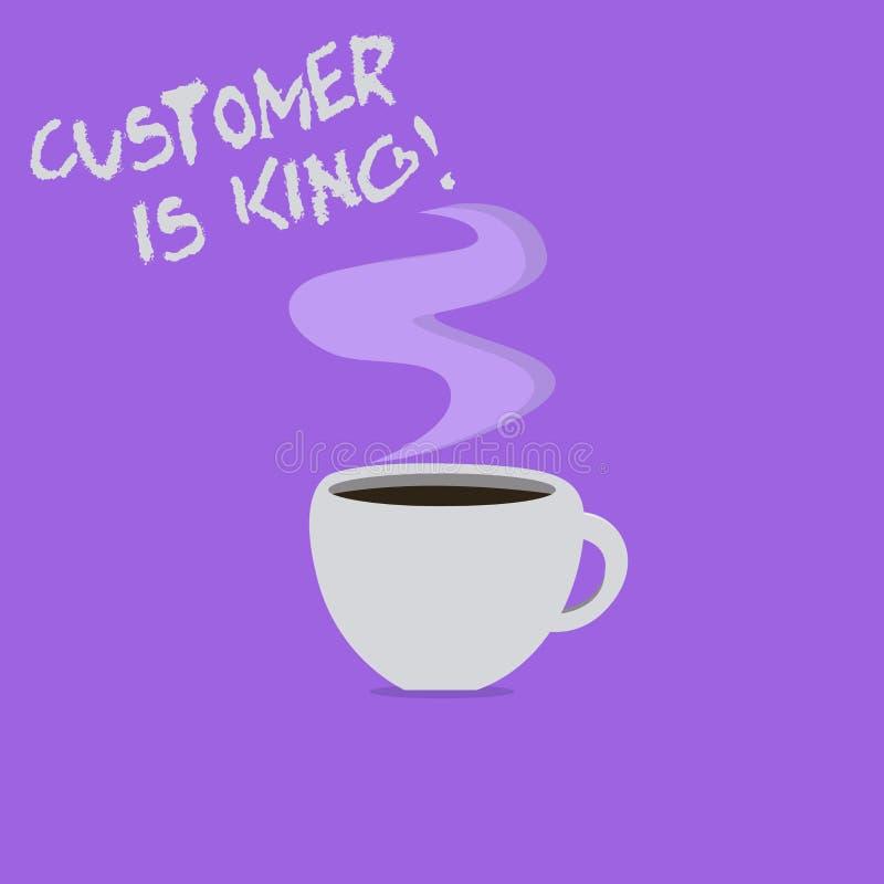 手写文本文字顾客是国王 概念殷勤意思服务和迫切地适当地提供需要 皇族释放例证