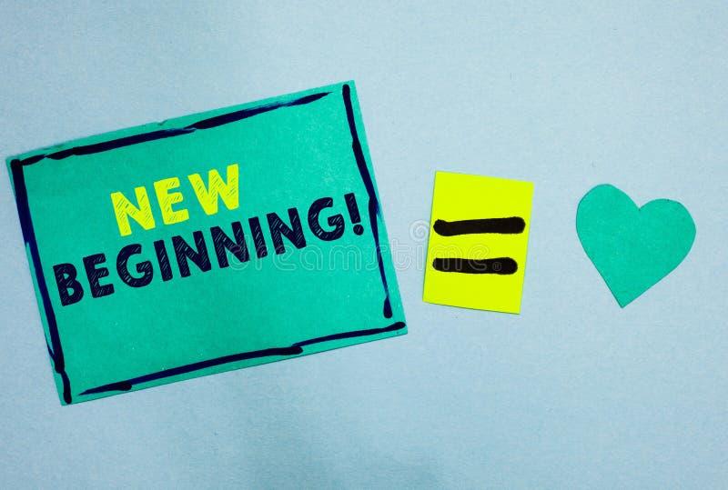手写文本新的起点 再开始起动的概念意味另外事业的或努力更新绿松石纸笔记关于 库存照片