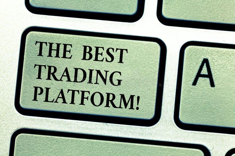 手写文本最佳的贸易的平台 意味货币流通量交换优秀应用键盘键的概念 库存图片