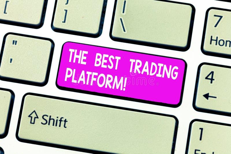 手写文本最佳的贸易的平台 意味货币流通量交换优秀应用键盘键的概念 免版税库存照片