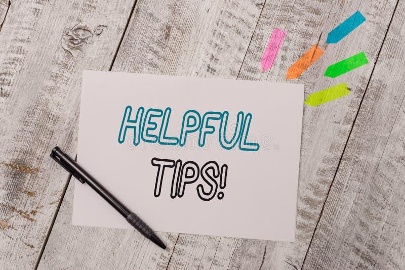 手写文本有用的技巧 意味建议的概念提是有用的知识在生活中抱怨便条纸和线 库存照片