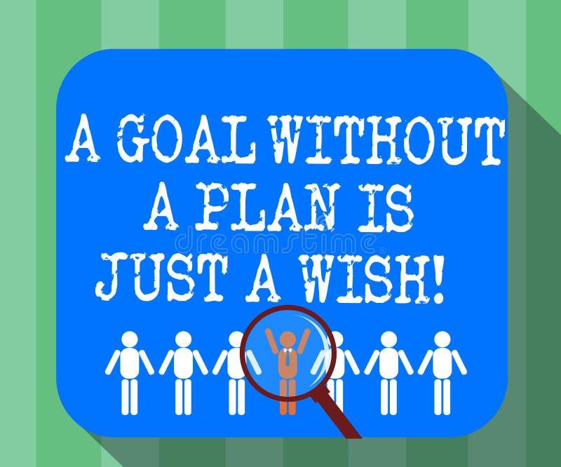 手写文本没有计划的一个目标是愿望 概念意思做战略到达扩大化的宗旨 库存例证