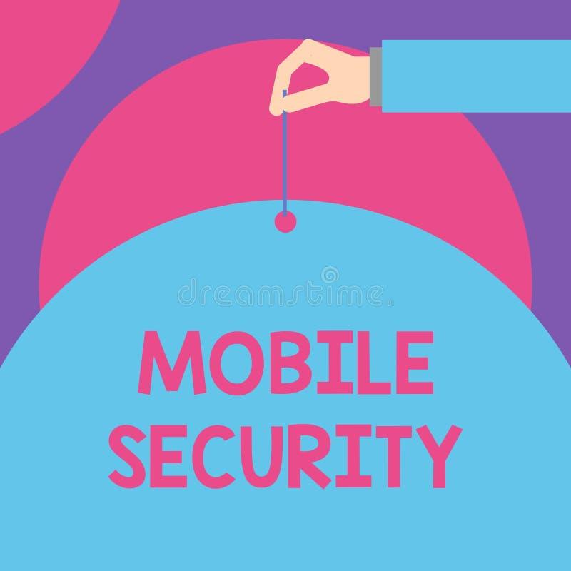 手写文本流动安全 意味手机的保护的概念免受威胁和弱点男性手 皇族释放例证